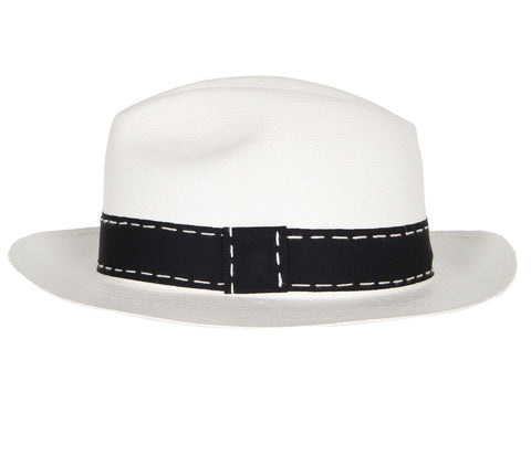 Premium Classic Panama with Stitched Bow, White/Black