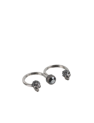 Double Skull Ring, Silver