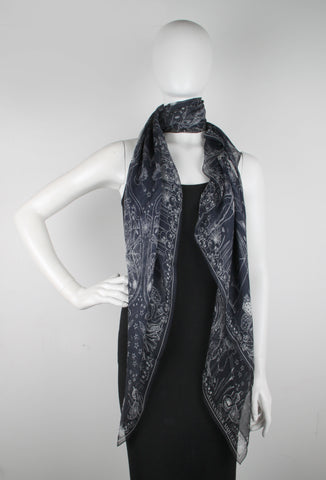 Web of Wishes Scarf Silk Chiffon, Black/Grey