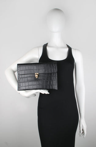 Skull Envelope Clutch Croc (G), Black