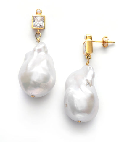 Baroque Pearl Bling Earrings, Linen