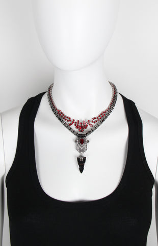 Layered Deco Fangs Necklace, Hematite