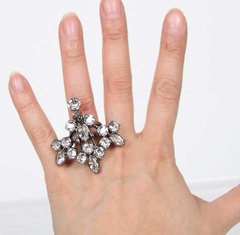 Crystal Chandelier Ring, Hematite