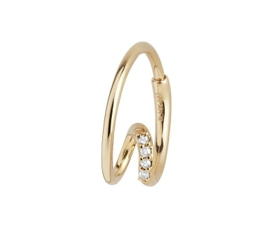 Acrobat Diamond Hoop 14k, Yellow Gold