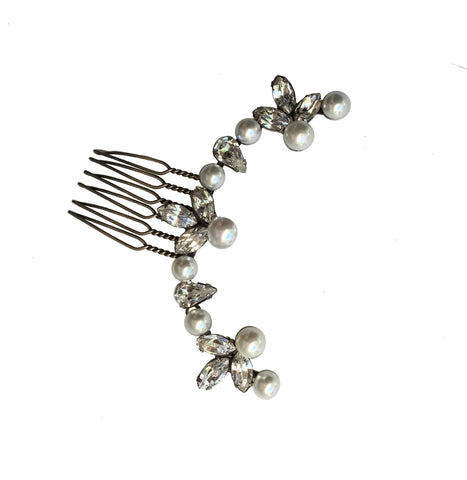 Ariel Pearl Crystal Comb, Oxidized Silver