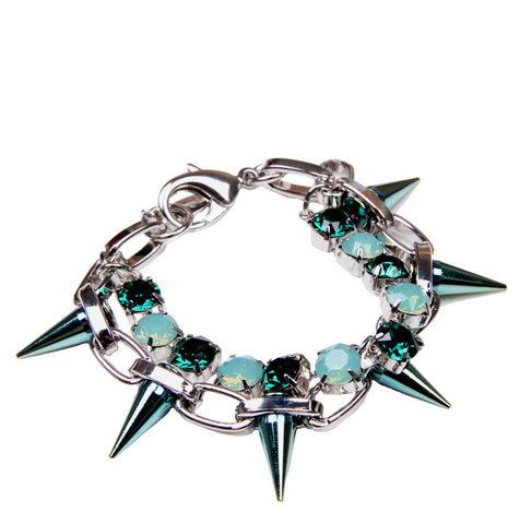Hard Candy Crystal & Spike Bracelet Green