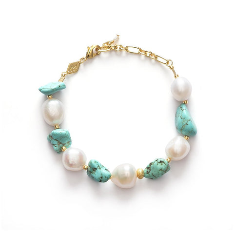 Beach Cocktail Turquoise & Pearl Bracelet, Gold