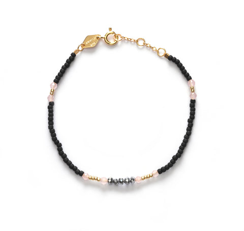 Bead & Gem 03 Bracelet, Black