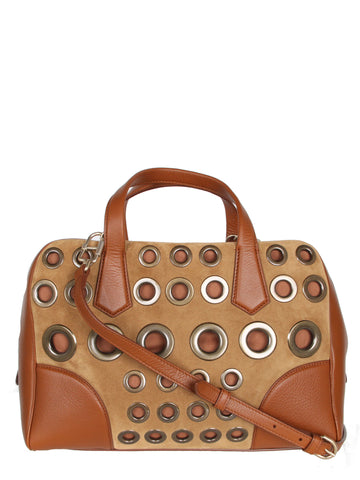 Le Coussin Boston Eyelet Bag, Caramel