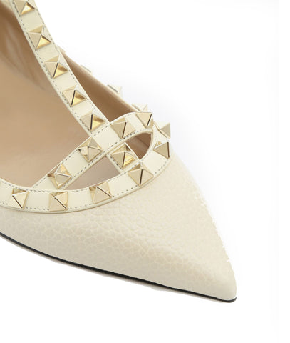 Rockstud Ballerina Caged Grained, Ivory
