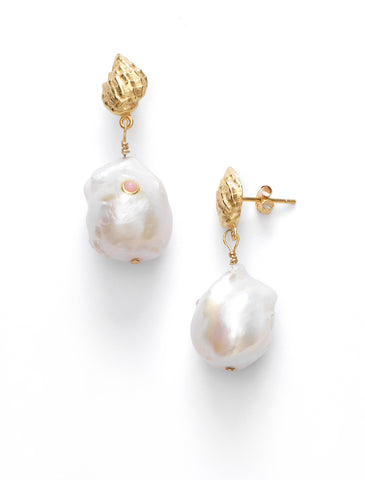 Baroque Pearl Shell Earrings, Coral