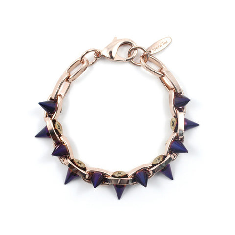 Cosmic Warrior Double Row Spike Bracelet, Rose