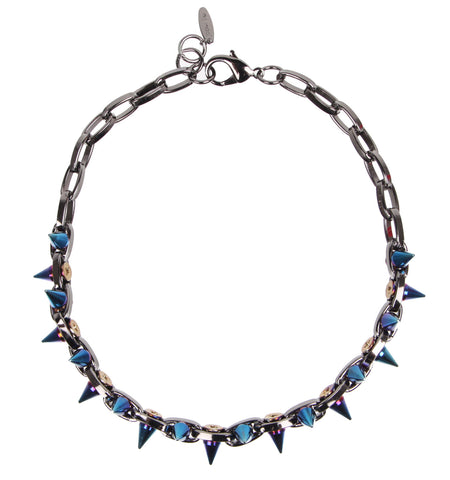 Cosmic Warrior Double Row Spike Necklace, Hematite