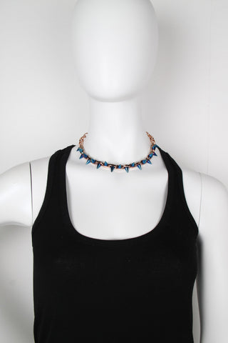 Cosmic Warrior Double Row Spike Necklace, Rose