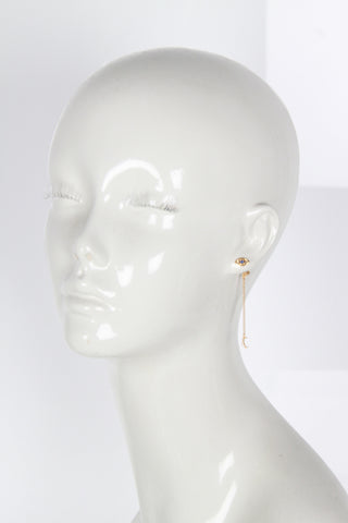 Mini Eye Stud With Moon Charm (single)