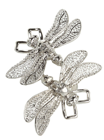 Twin Dragonfly Ring, Silver