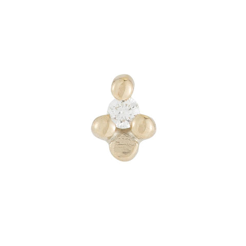 Diamond Flora Stud (Single), Yellow Gold