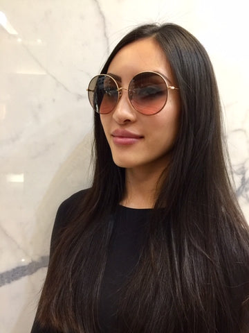 Dior Society 2F Sunglasses, Rose Gold/Brown