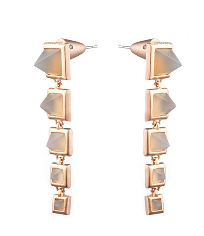 Graduated Gemstone Pyramid Drop Earrings