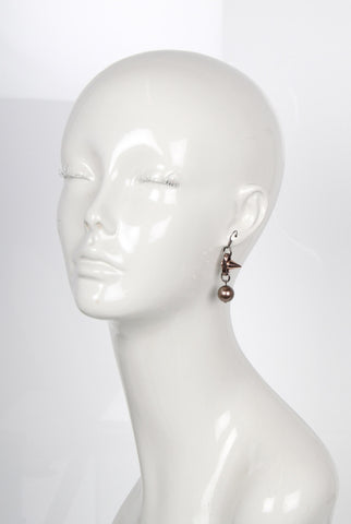 Spike and Pearl Earrings, Brown