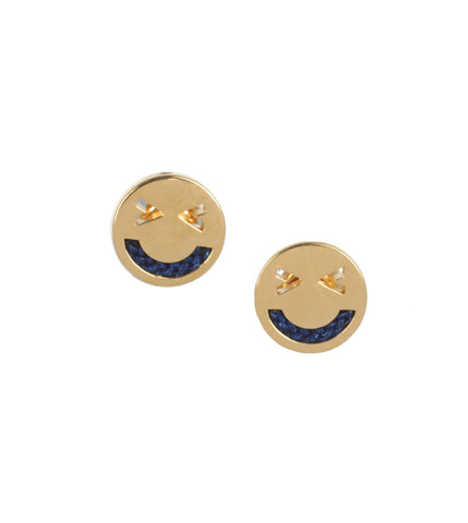 Merry Yellow Gold Studs, Navy