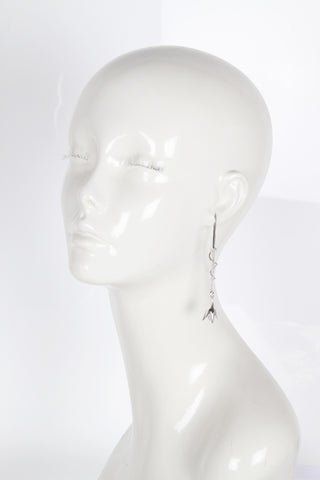 Pave Bud Drop Earrings, Silver