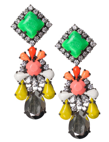 Square Crystal Earrings, Boogie