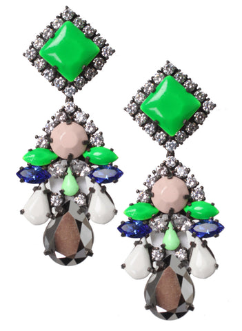 Square Crystal earrings, Primavera