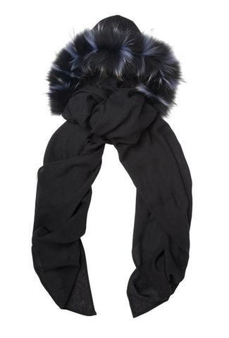 Fur Lined Hood, Black/Blue