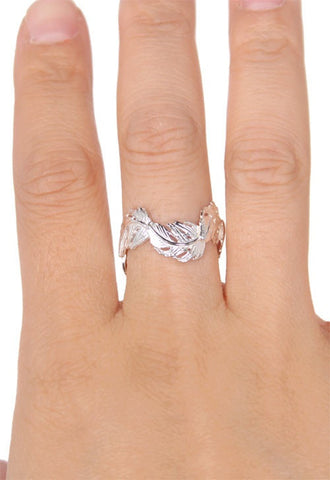 Wavy Feather Band Ring, Silver