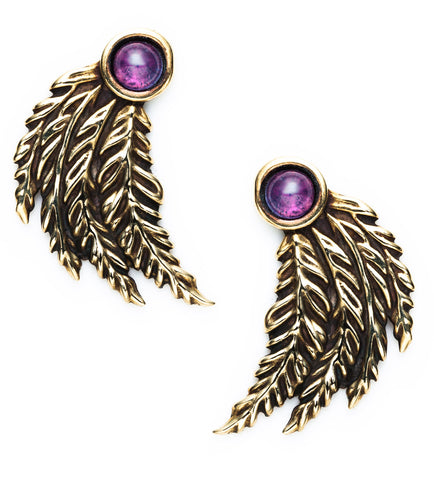 Feather Earrings, Brass