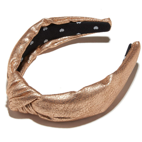 Faux Leather Knotted Headband, Gold