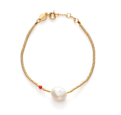 Baroque Pearl Bracelet, Hot Coral