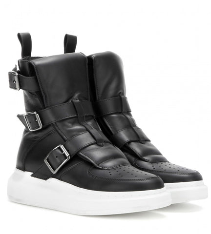 ES Buckle High-Top Sneakers, Black
