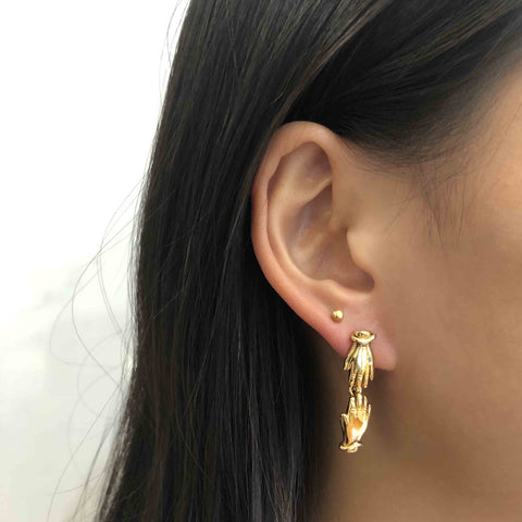 Palm Earrings (pair), Gold