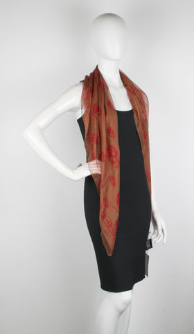 Classic Skull Scarf Silk Chiffon, Brown/Red