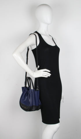 PS Ruched Tote Small, Black/Blue