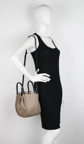 PS Ruched Tote Small, Taupe