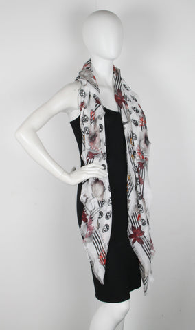 Biker Night Flower Scarf Pashmina, Ivory/Black