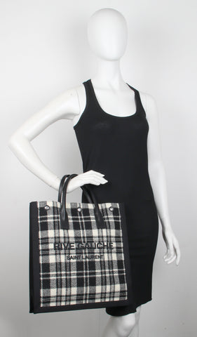 Rive Gauche Tartan Small Tote, Off White/Black
