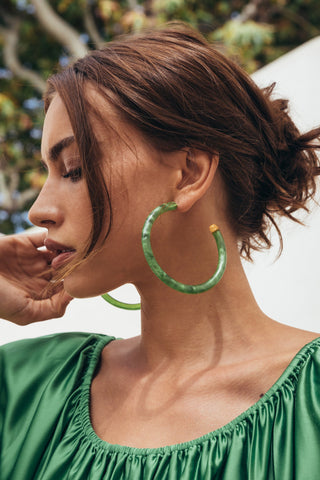 Geneva Earrings, Malachite