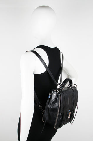 PS1+ Zip Backpack Paper Leather, Black