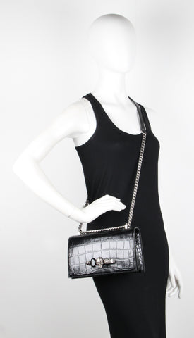 Jewelled Knuckle Satchel Glossy Croc, Black/Silver