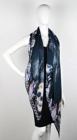 AMQ Bell Jar Punk Scarf Satin, Black/Blue