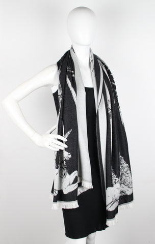 AMQ King & Queen Shawl, Black/Grey
