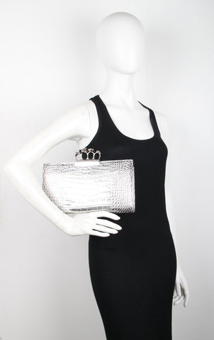 4 Ring Clutch Large Croc, Silver