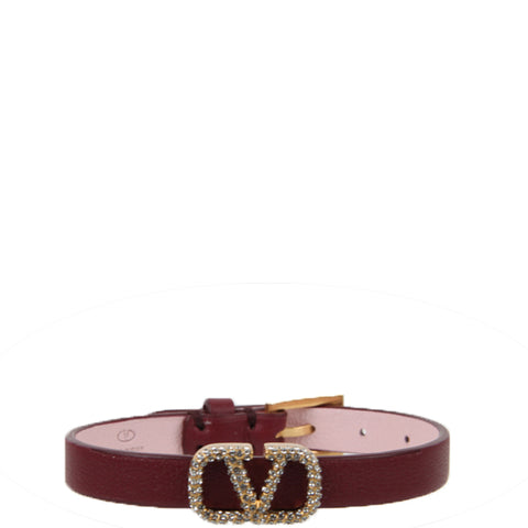 VLogo Pave Leather Bracelet, Cerise/Rose