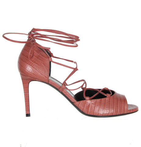 Jane Tejus Lace-Up Sandals 80, Dark Rose