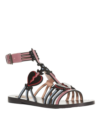 Love Blade Heart Flat Sandals, Black/Rose