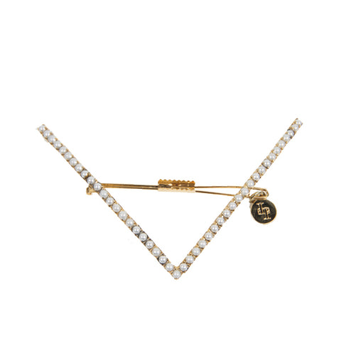 Vee Pearl Barette, Antique Gold